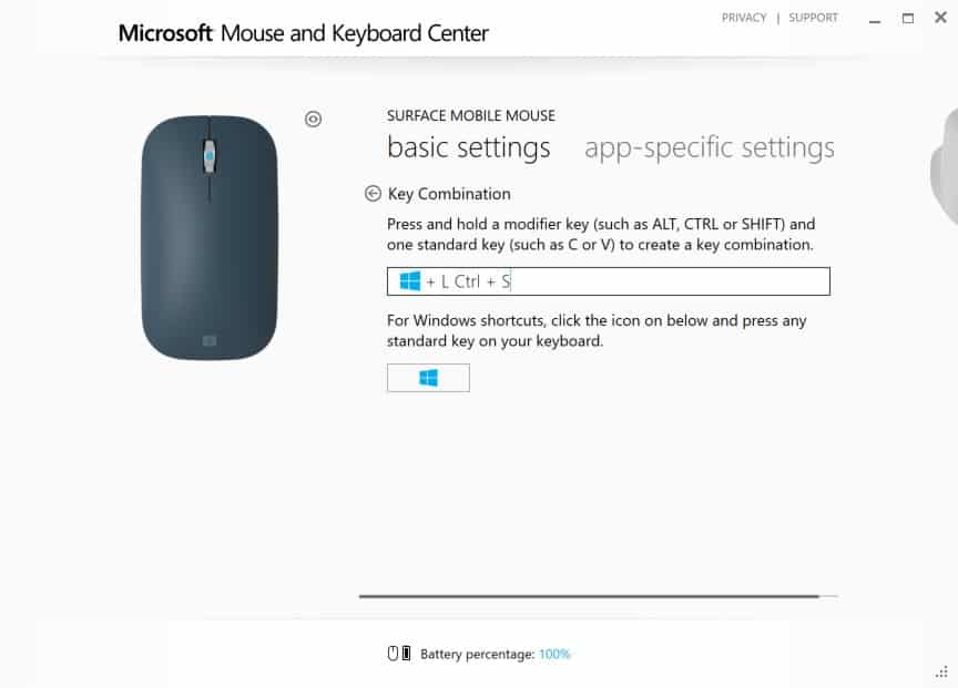 Configuring Surface Mobile Mouse - Wheel Button Click Interface - Key Combinations