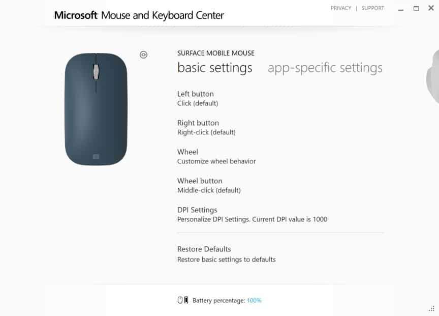 Surface Mobile Mouse in Microsoft Mouse and Keyboard Center