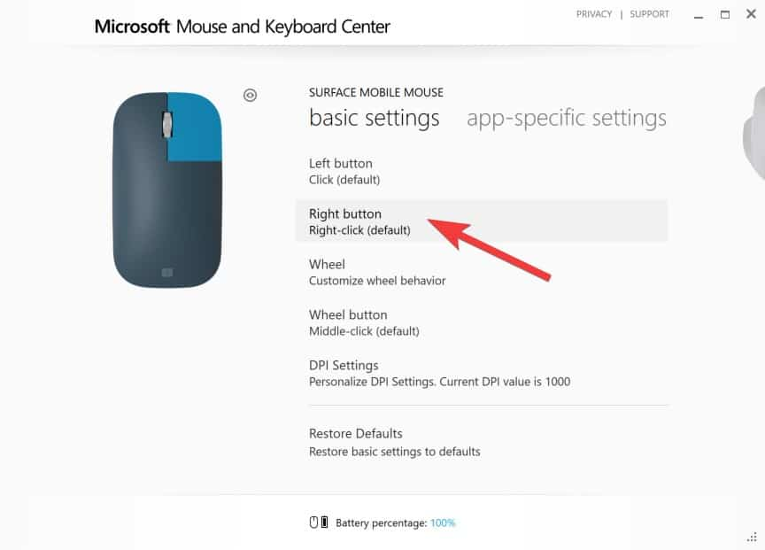 Configuring Surface Mobile Mouse - Right Click
