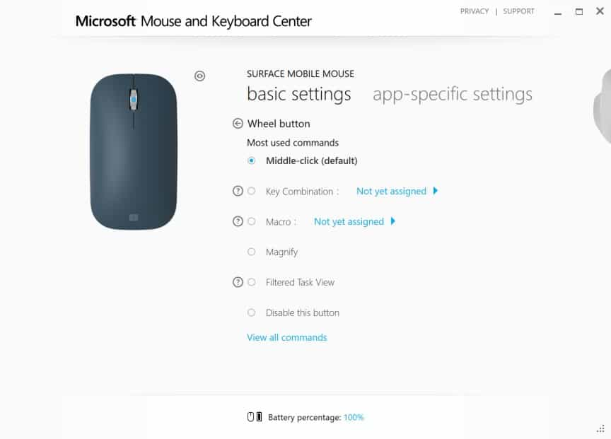 Configuring Surface Mobile Mouse - Wheel Button Click Interface
