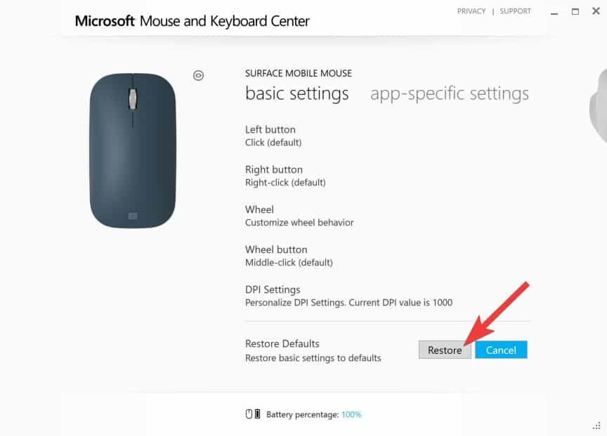 Configuring Surface Mobile Mouse - Confirm Restore Defaults