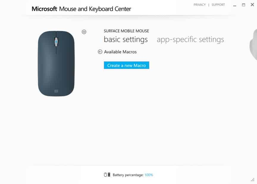 Configuring Surface Mobile Mouse - Wheel Button Click Interface - Macro