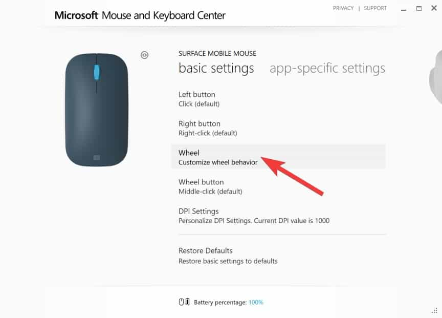 Configuring Surface Mobile Mouse - Wheel Behavior