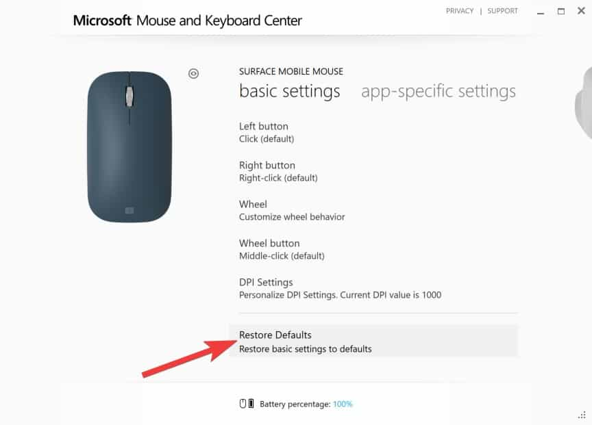 Configuring Surface Mobile Mouse - Restore Defaults