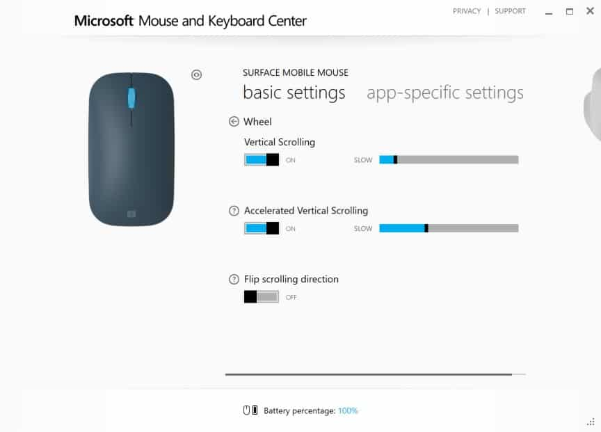 Configuring Surface Mobile Mouse - Wheel Behavior Interface