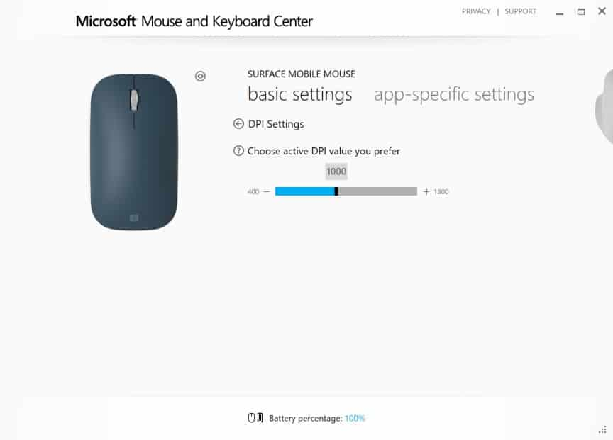 Configuring Surface Mobile Mouse - DPI Settings Interface