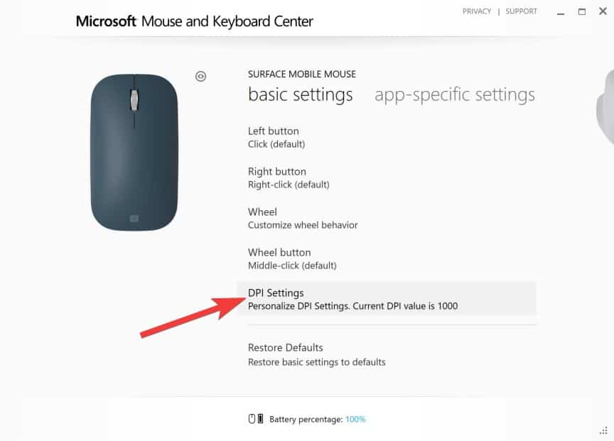 Configuring Surface Mobile Mouse - DPI Settings