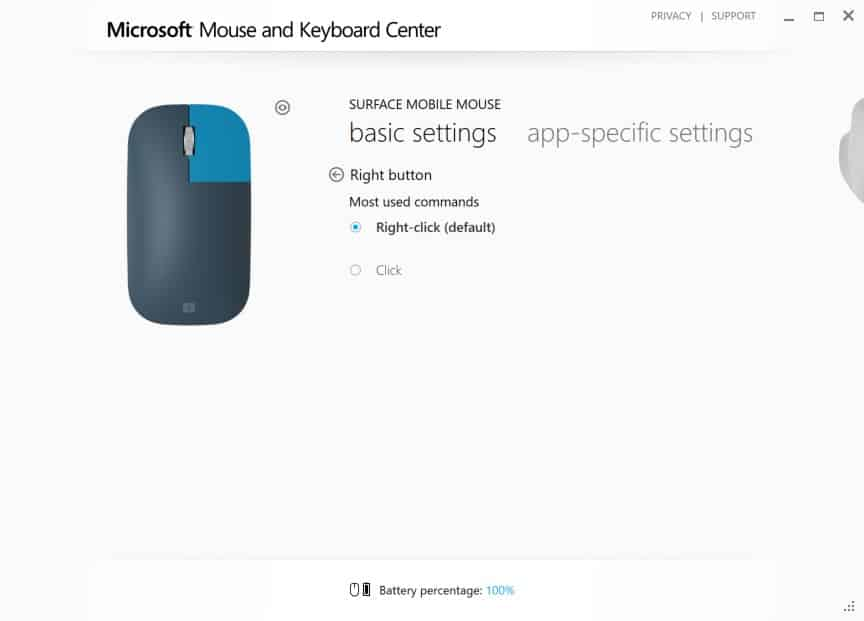 Configuring Surface Mobile Mouse - Right Click Interface