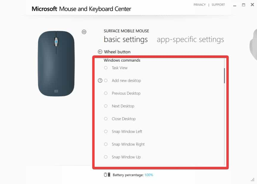 Configuring Surface Mobile Mouse - Wheel Button Click Interface - All Windows Commands