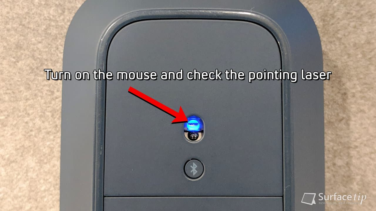 Check the Surface Mobile Mouse pointing laser