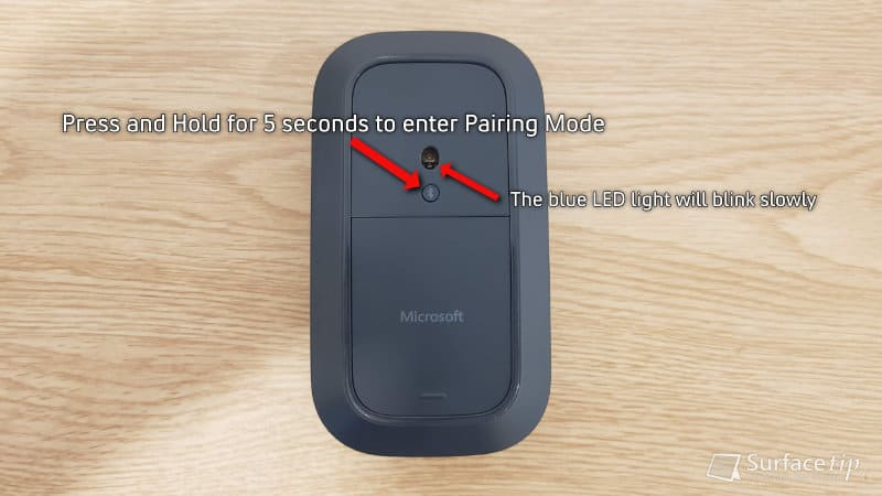 Enter Pairing Mode on Surface Mobile Mouse