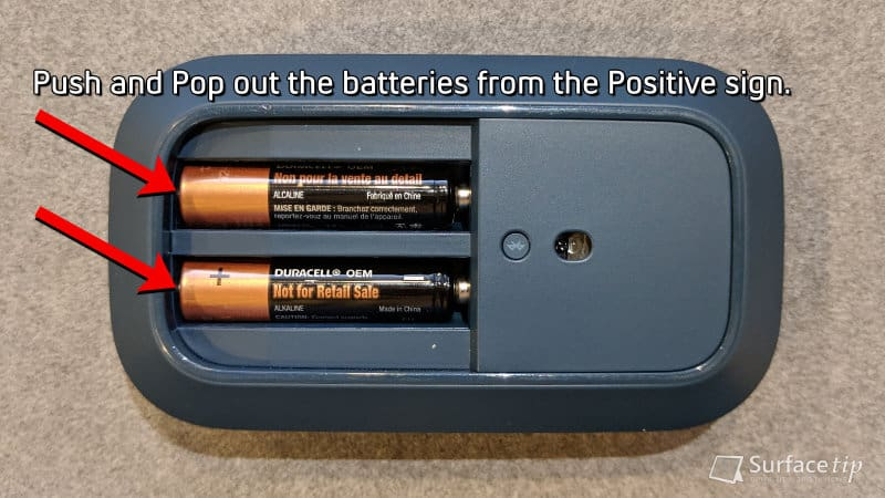 Pop out the batteries from Surface Mobile Mouse