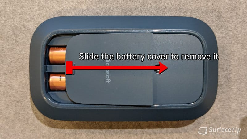 Slide the Surface Mobile Mouse battery cover to remove it