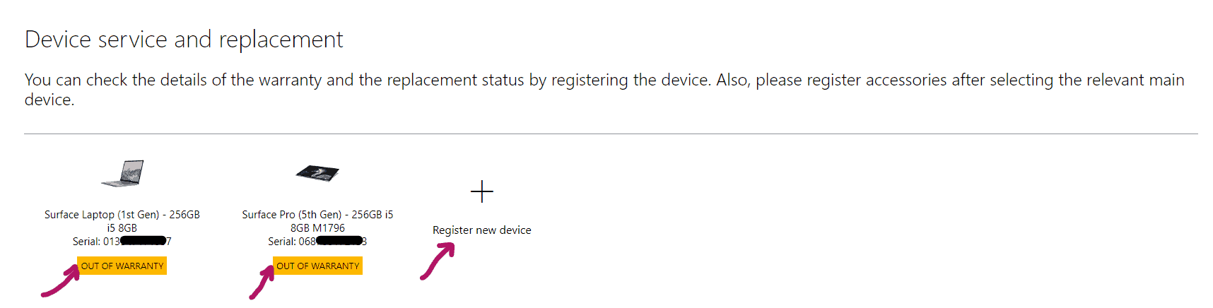 Surface Devices Warranty Status