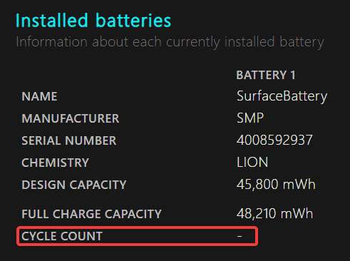 Charging Cycle Count on brand new Surface Laptop 3