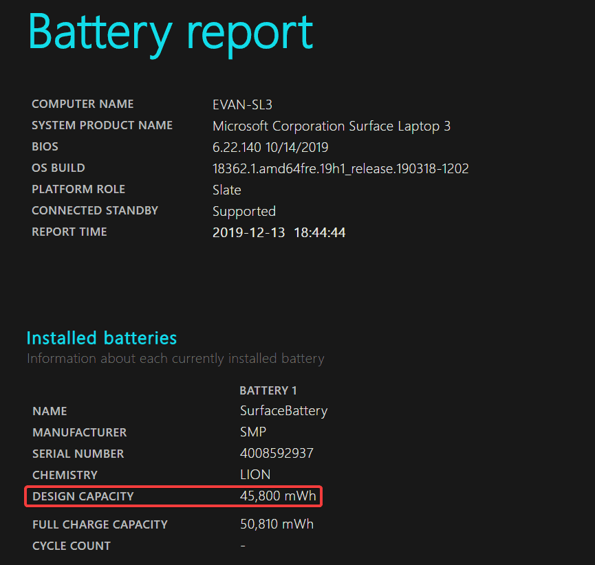 Design Battery Report on Surface Laptop 3