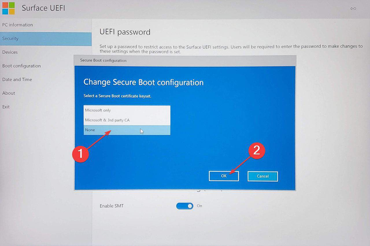 Disable Secure Boot on Surface Book 002