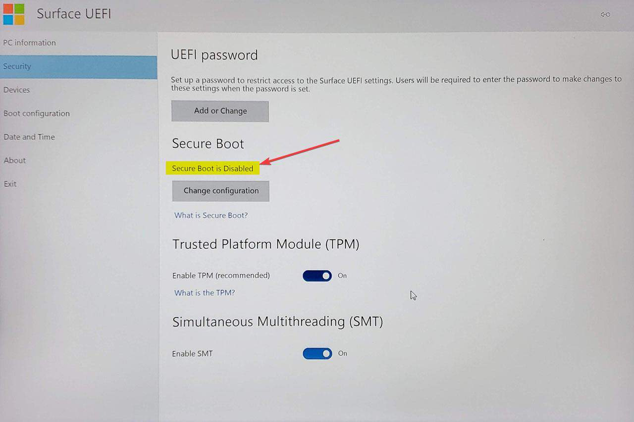 Disable Secure Boot on Surface Book 003