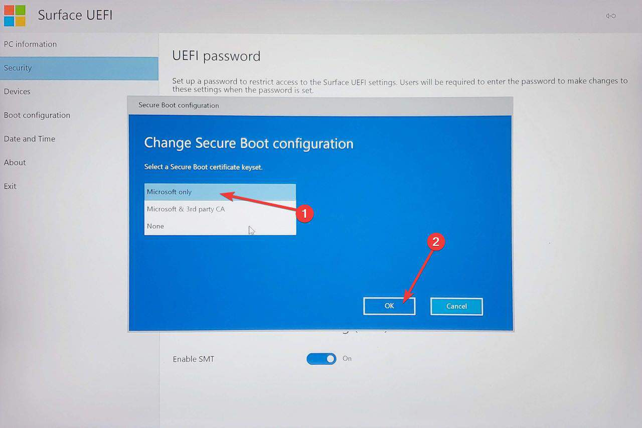 Enable Secure Boot on Surface Book
