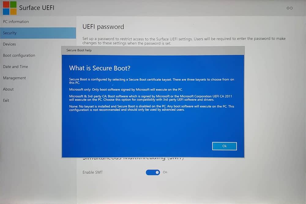 Surface Laptop 3 UEFI - Security 04