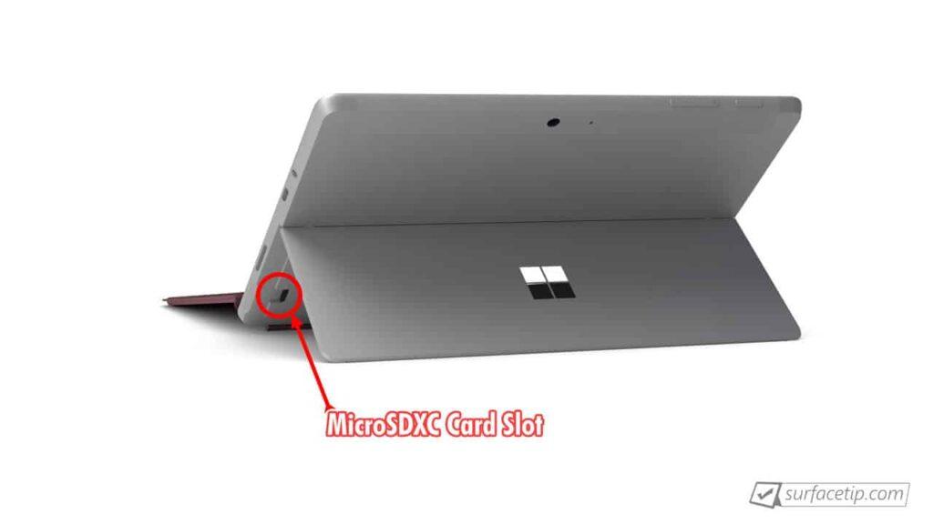 Surface Go MicroSDXC card slot