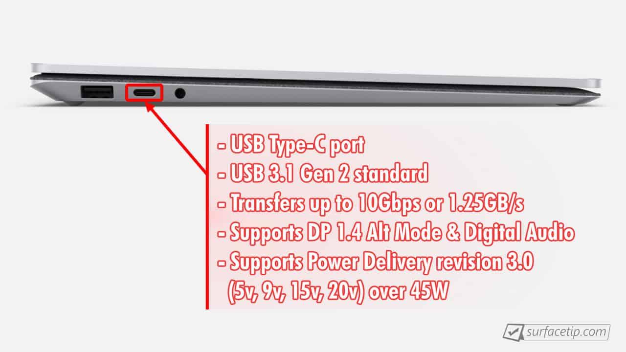 Surface Laptop 3 USB-C Port Info
