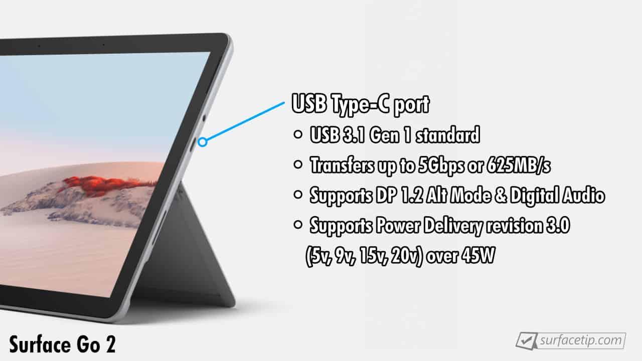 Surface Go 2 USB-C Port