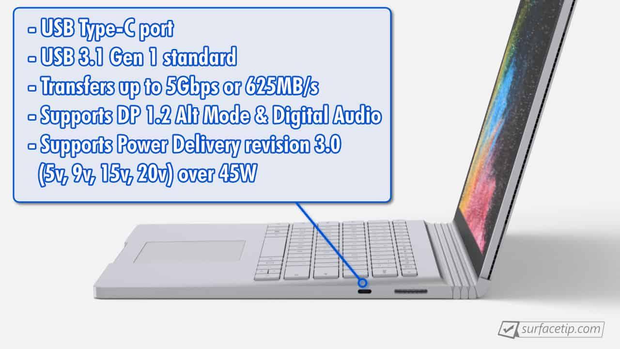 Surface Book 2 USB-C Port Specs