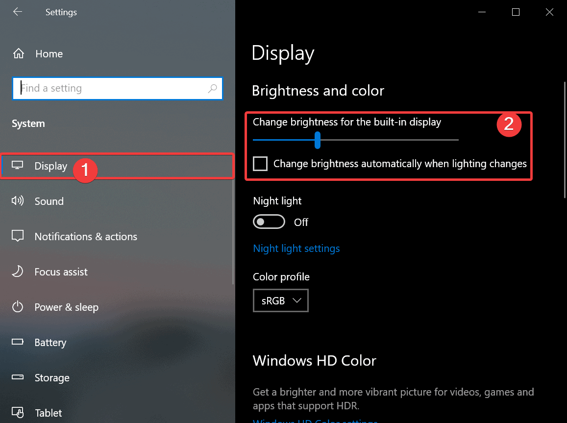 Settings App - Display Section