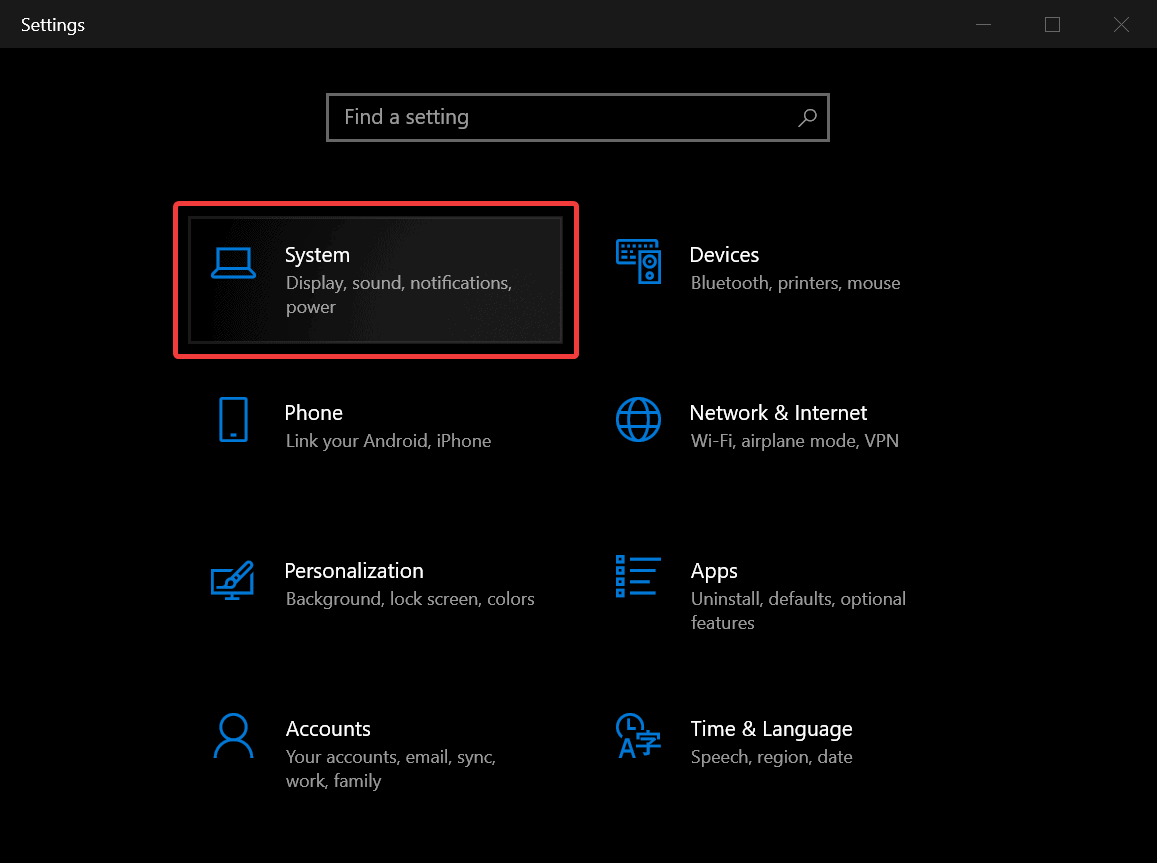 Settings App - Open System Page