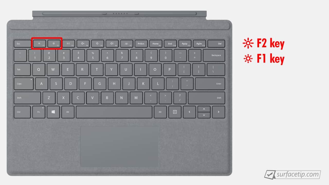 Surface Pro 5 Brightness Control Keys