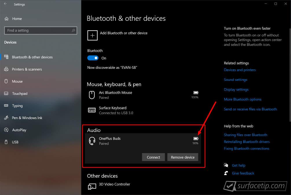 OnePlus Buds Battery Status on Windows 10