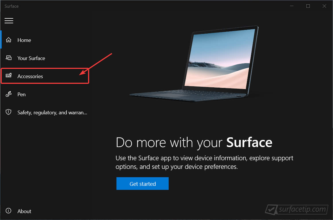 Surface App > Accessories Page