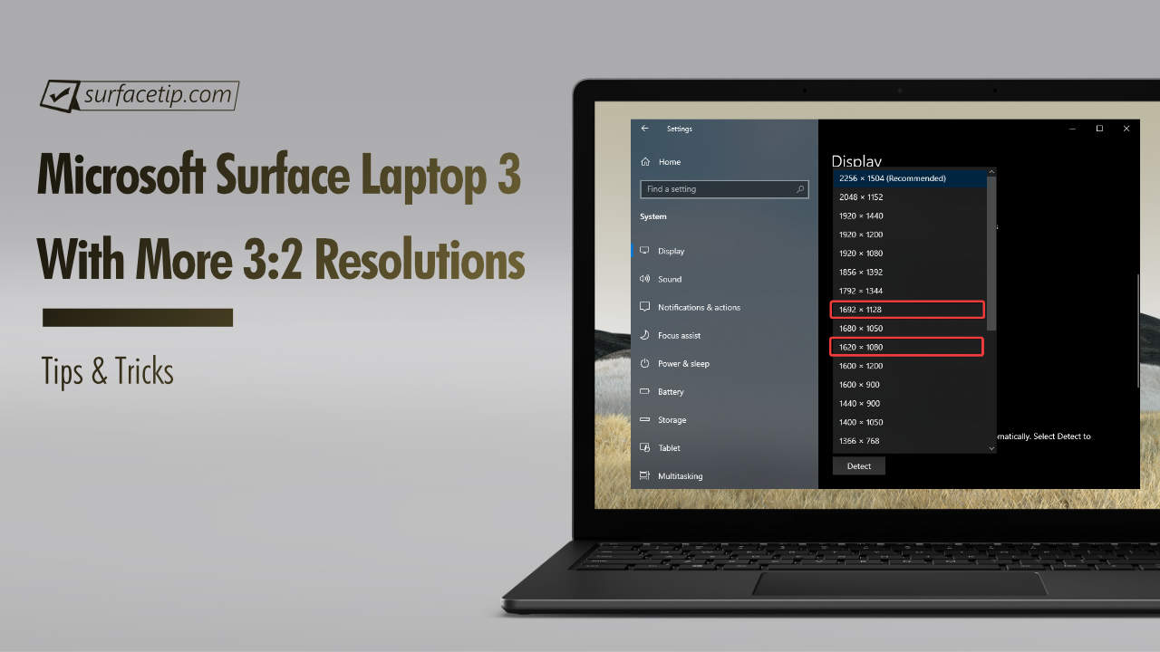 Surface Laptop 3 with more 3:2 aspect ratio resolutions