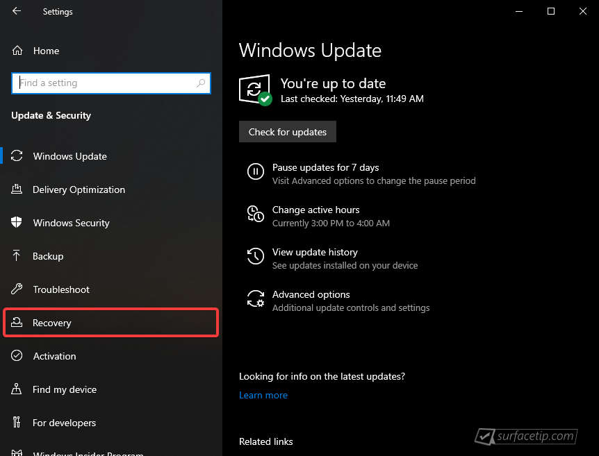 Windows 10 Settings > Update & Security > Recovery
