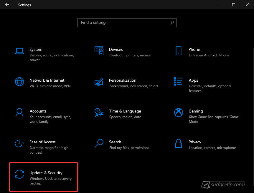 Windows 10 Settings > Update & Security
