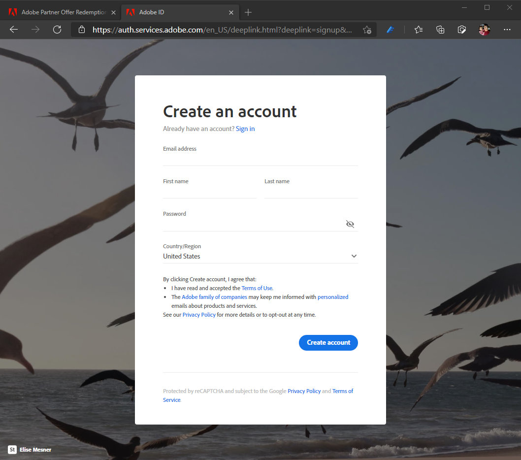 Adobe and Surface Offers Account