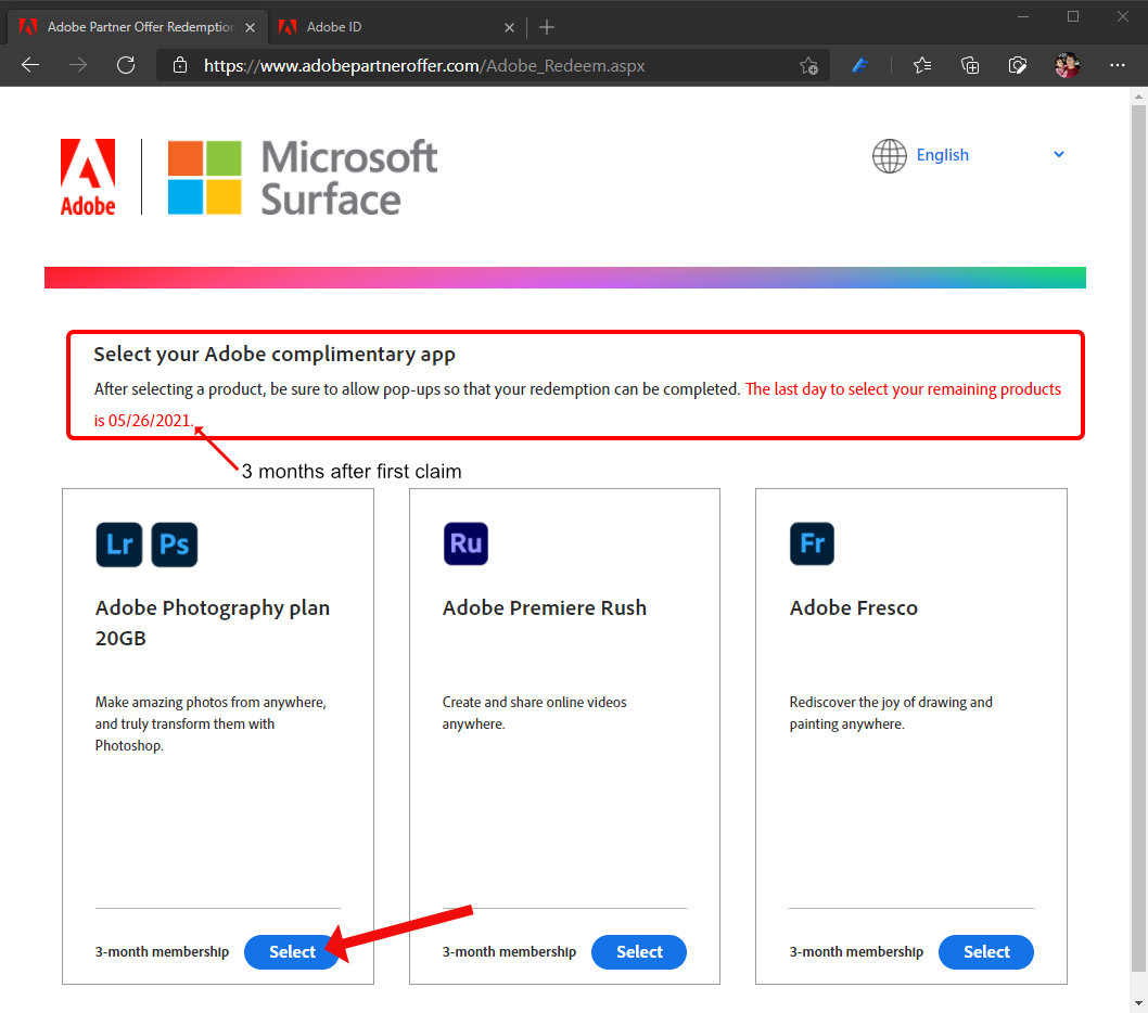 Adobe and Surface Offers web page after your first claimed