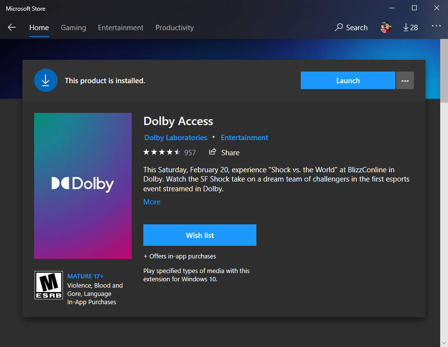 Get Dolby Access App from Microsoft Store