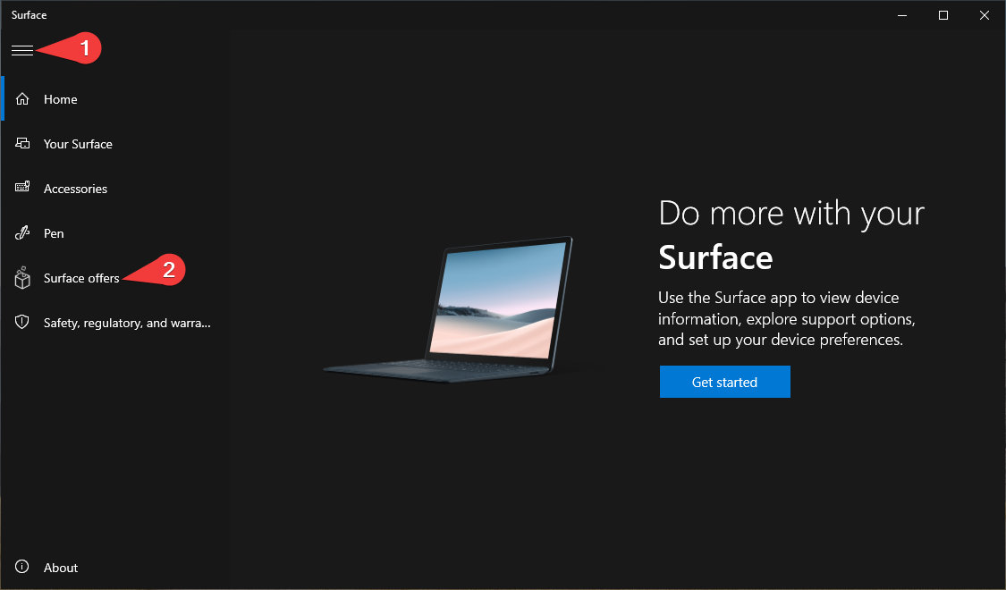 Surface app > Expand Menu > Surface Offers