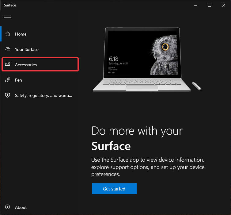 Surface App on Surface Book > Accessories Page
