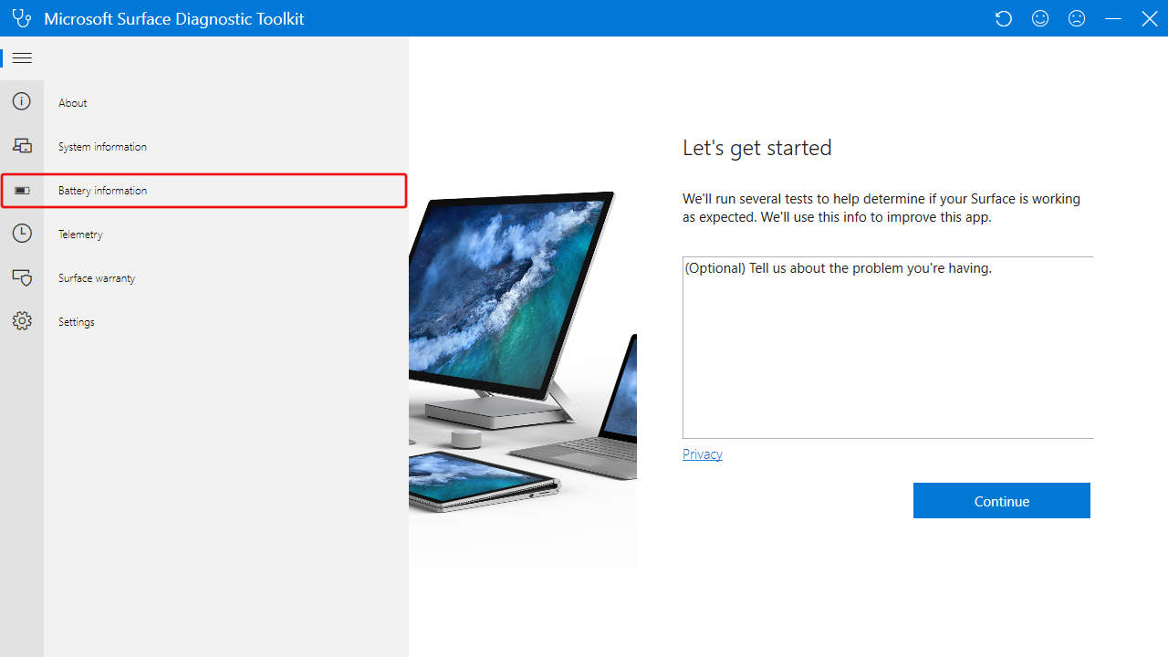 Surface Diagnostic Toolkit: Battery Information Menu
