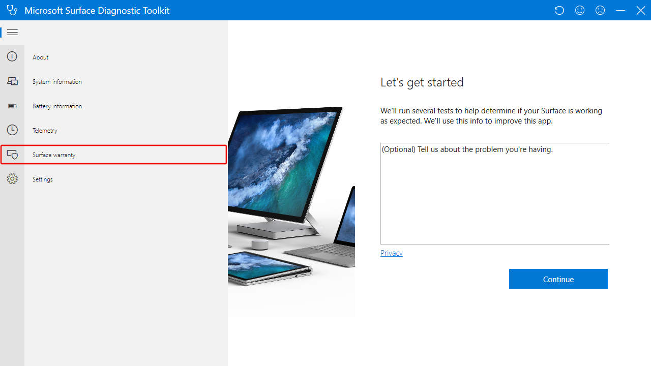 Surface Diagnostic Toolkit: Surface Warranty Menu