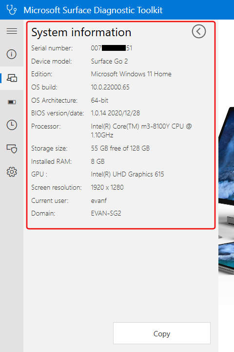 Surface Diagnostic Toolkit: Surface Key Specifications
