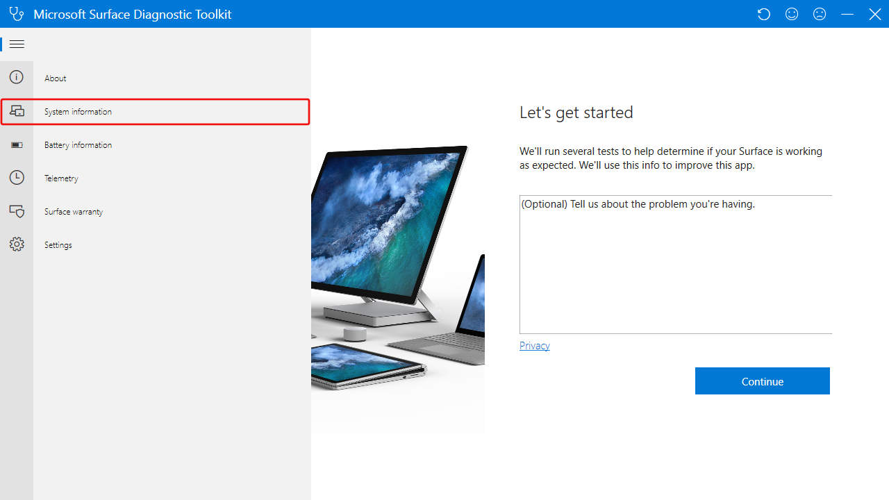 Surface Diagnostic Toolkit: Surface Key Specifications Menu