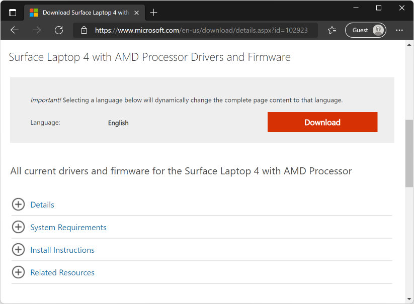 Surface Laptop 4 Drivers and Firmware: Click Download button