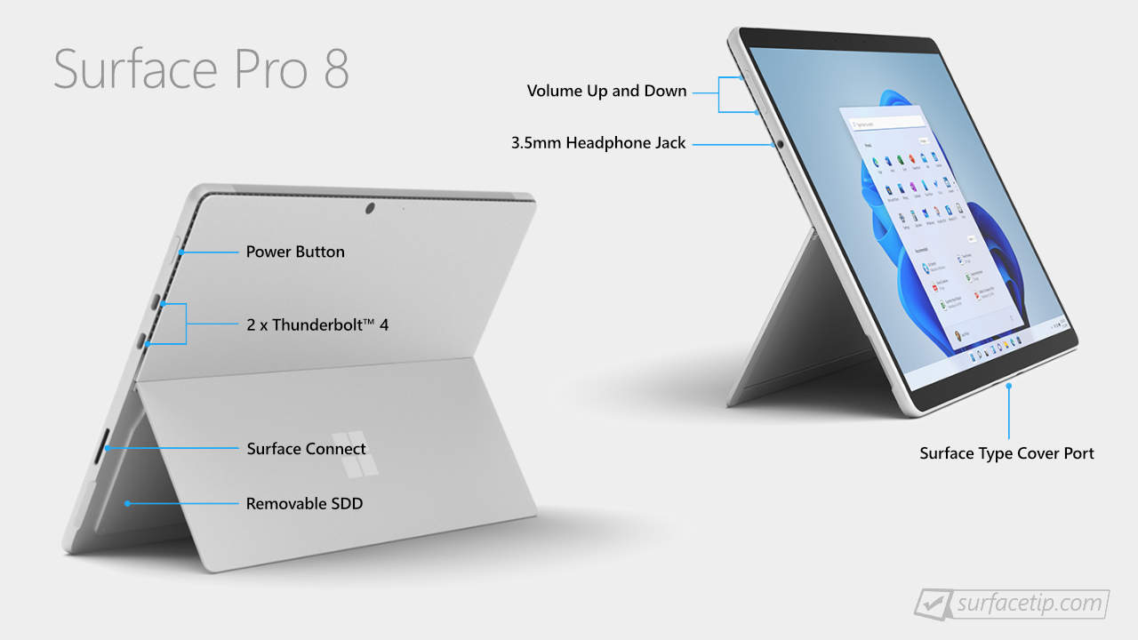 Does Surface Pro 8 have USB-C port?